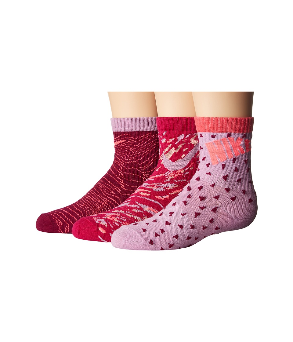 Nike Kids 3-Pair Pack Pattern Crew Socks (Toddler) (Orchid) Girls Shoes