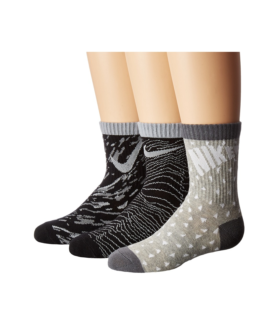 Nike Kids 3-Pair Pack Pattern Crew Socks (Toddler) (Black) Girls Shoes