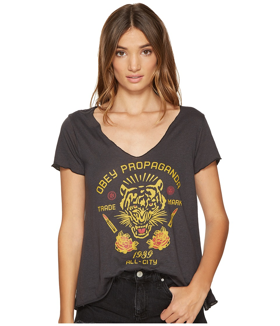 Obey Kiss Me Deadly Tiger Tee (Heather Black) Women