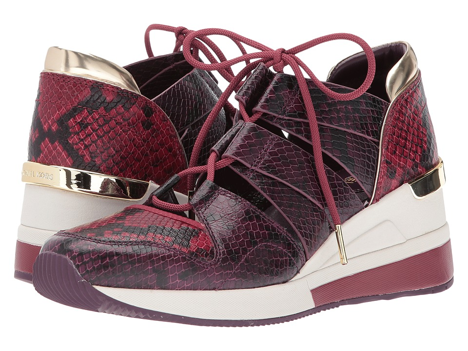 MICHAEL Michael Kors Beckett Trainer (Damson/Mulberry Embossed Printed Snake/Mirror Metallic) Women