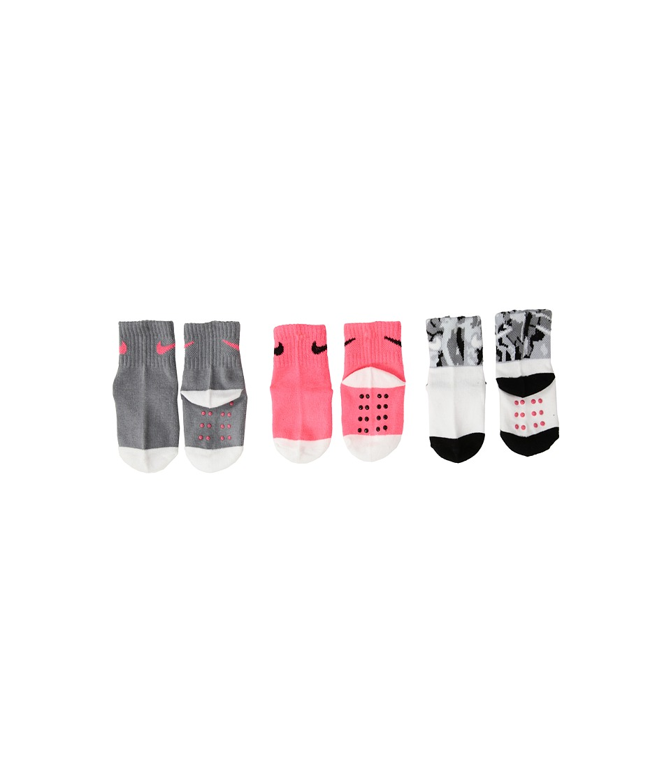 Nike Kids 3-Pair Pack Daytrip Cuff Grippies (Infant/Toddler) (Racer Pink) Girls Shoes