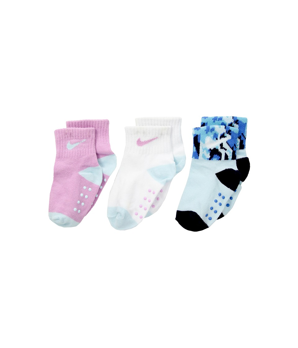 Nike Kids 3-Pair Pack Daytrip Cuff Grippies (Infant/Toddler) (Orchid) Girls Shoes