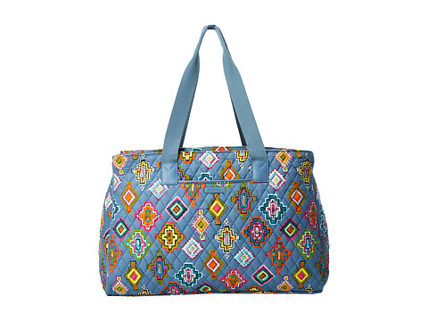 Vera Bradley Luggage Triple Compartment Travel Bag - Painted Medallions/Mneral Blue