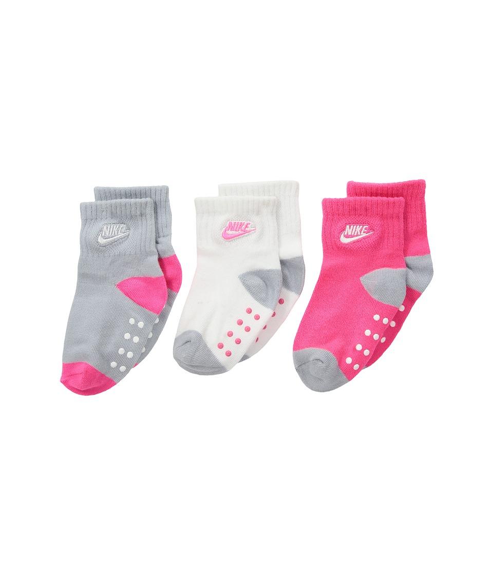 Nike Kids 3-Pair Pack Futura Gripper Socks (Infant/Toddler) (Hyper Pink) Girls Shoes