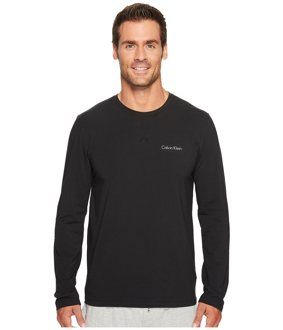 Calvin Klein Underwear Customized Stretch Long Sleeve Crew Neck Tee (Black) Men