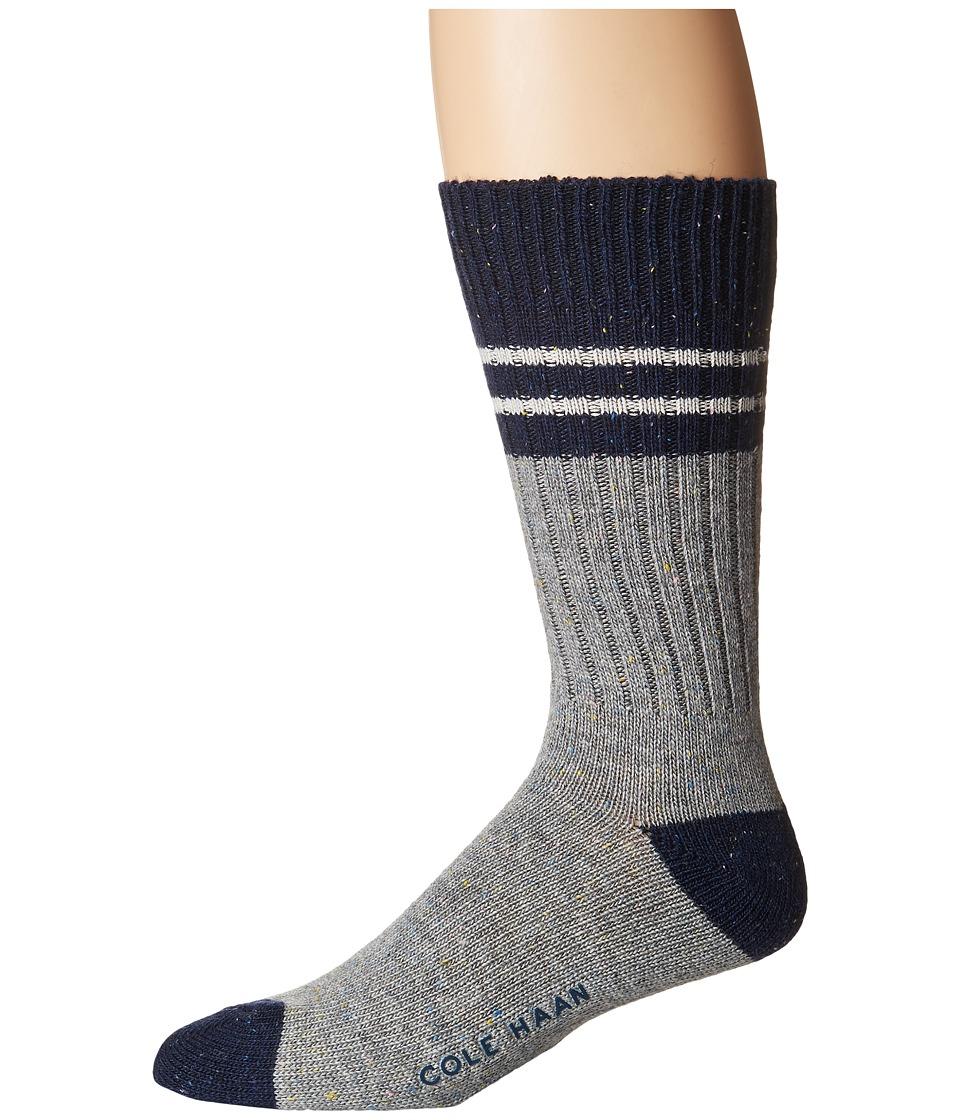 Cole Haan NEP Wool Boot Sock (Navy/Grey Heather) Men