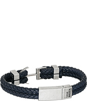 Steve Madden - Stainless Steel Aged Finish Leather Bracelet