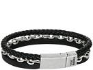 Steve Madden - Stainless Steel Aged Leather Chain Bracelet
