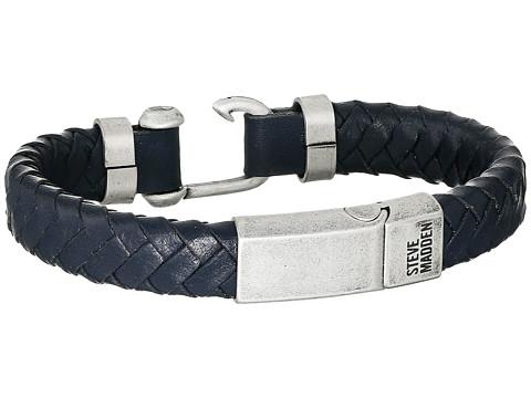 Steve Madden Stainless Steel Leather Bracelet - Silver/Navy