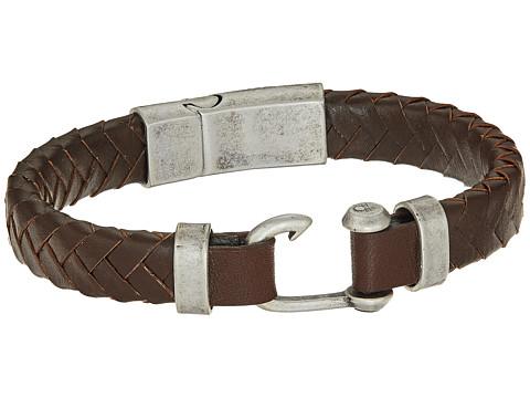 Steve Madden Stainless Steel Leather Bracelet - Silver/Brown