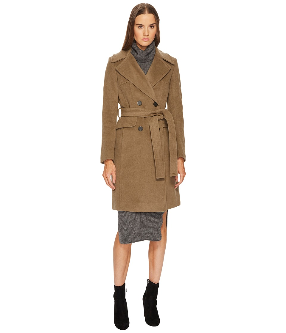 Diane von Furstenberg - Double Breasted Tie Waist Wool Coat (British Khaki) Womens Coat