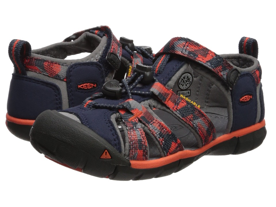 Keen Kids Seacamp II CNX (Toddler/Little Kid) (Dress Blues/Spicy Orange) Boys Shoes