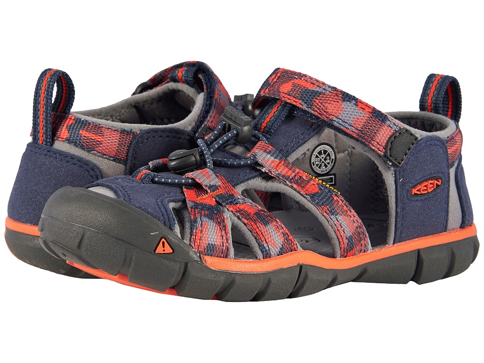 Keen Kids Seacamp II CNX (Little Kid/Big Kid) (Dress Blues/Spicy Orange) Boys Shoes