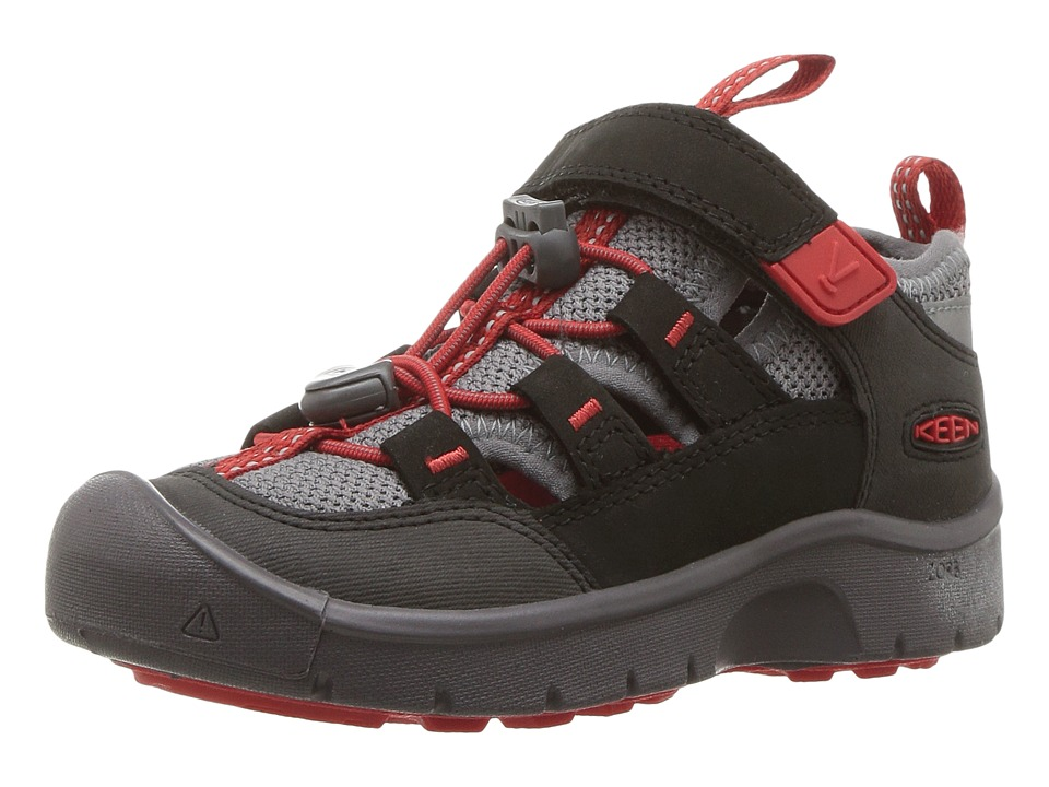 Keen Kids Hikeport Vent (Toddler/Little Kid) (Raven/Firey Red) Boy's Shoes