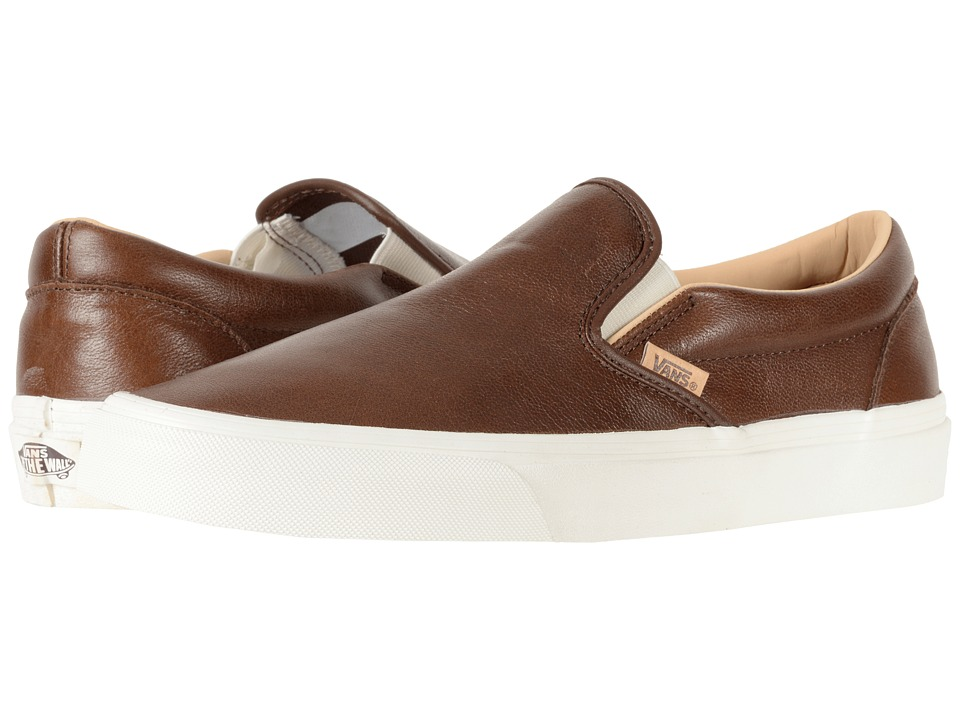 Vans Classic Slip-Ontm ((Lux Leather) Shaved Chocolate/Porcini) Skate Shoes
