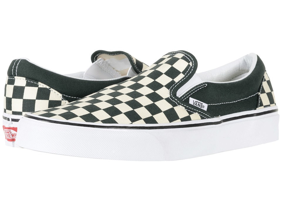 Vans Classic Slip-Ontm ((Checkerboard) Scarab/White) Skate Shoes