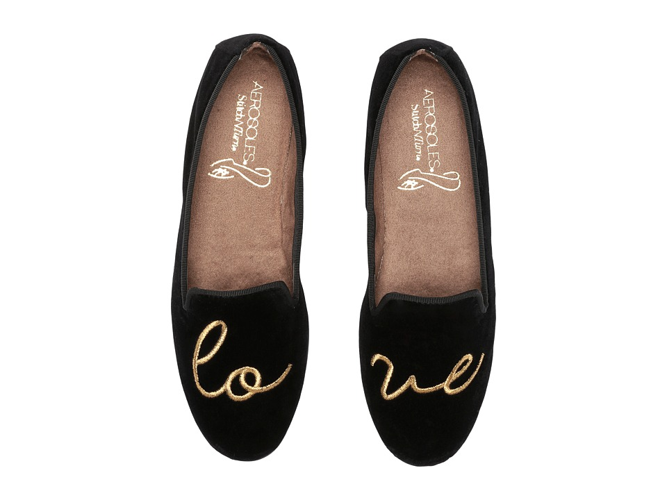 Vintage Style Shoes, Vintage Inspired Shoes Aerosoles - Betunia Black Velvet Love Womens Flat Shoes $59.00 AT vintagedancer.com