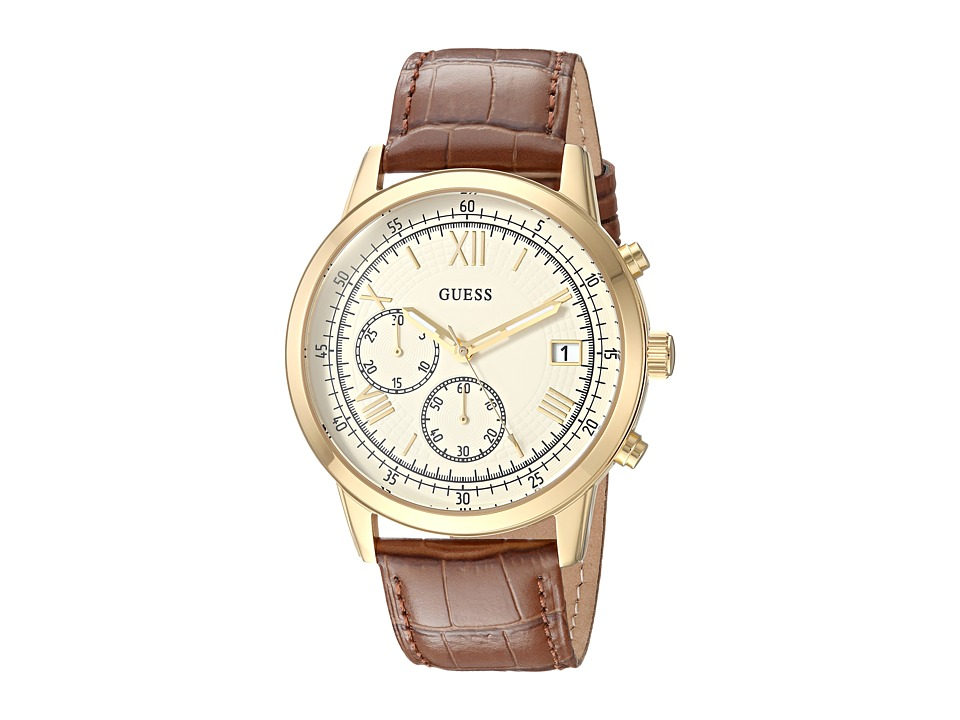 GUESS - U1000G3 (Gold/Brown) Watches