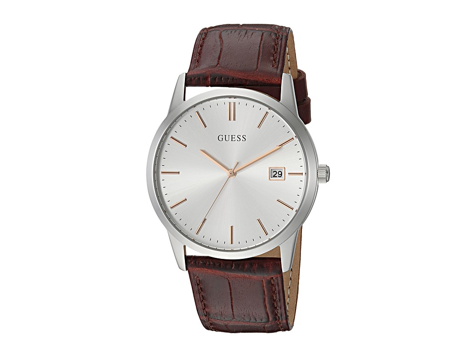 GUESS - U0998G2 (Silver/Brown) Watches