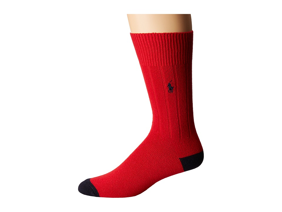 Ralph Lauren Single Cashmere Rib Heel/Toe (Crimson) Men's...