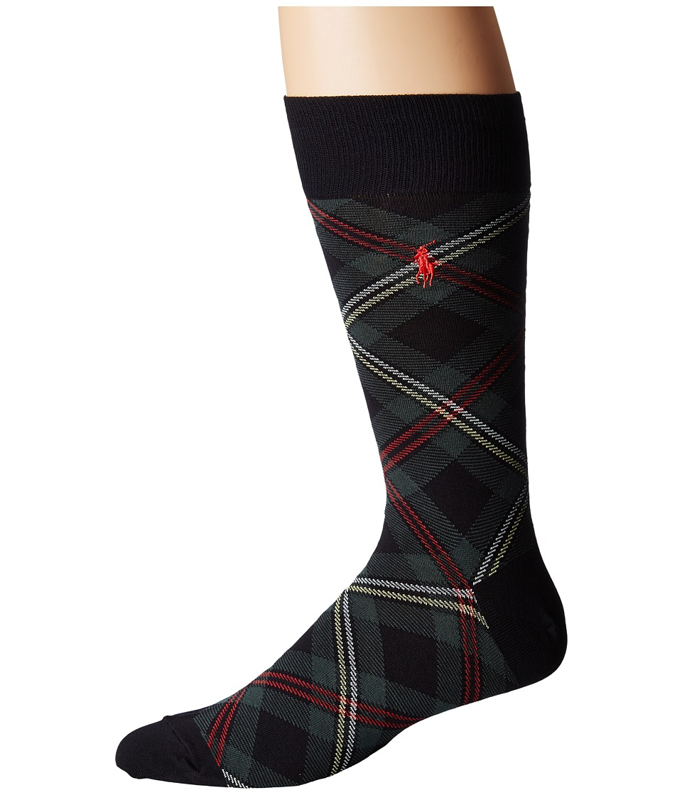 Polo Ralph Lauren - Single Premium Tartan (Navy) Mens Crew Cut Socks Shoes