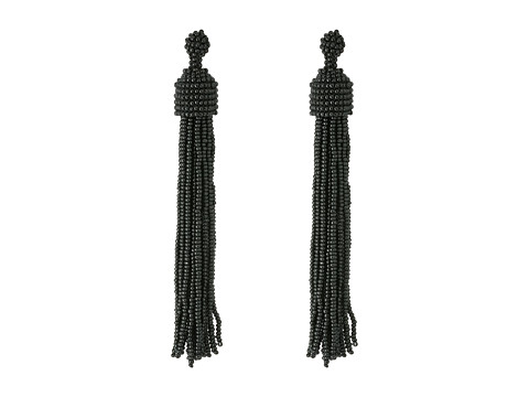 Kenneth Jay Lane Black Seed Bead Tassel Direct Post Earrings - Black