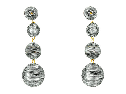 Kenneth Jay Lane 3 Metallic Silver Thread Small To Large Wrapped Ball Clip Earrings w/ Dome Top - Silver