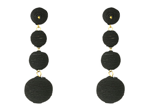 Kenneth Jay Lane 3 Black Thread Small To Large Matte Wrapped Ball Pierced Earrings w/ Dome Top - Black