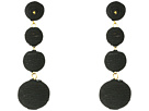 Kenneth Jay Lane - 3 Black Thread Small To Large Matte Wrapped Ball Pierced Earrings w/ Dome Top