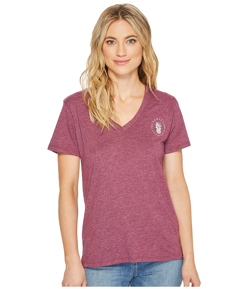 Hurley Pineapple Premium V-Neck In (Teaberry Heather) Women