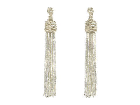Kenneth Jay Lane Silver Seed Bead Tassel Direct Post Earrings - Silver