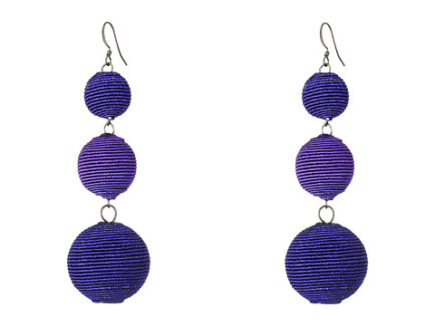 Kenneth Jay Lane Triple Graduated Navy Blue Thread Wrapped Balls Fishook Top Earrings - Navy Blue