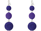 Kenneth Jay Lane Triple Graduated Navy Blue Thread Wrapped Balls Fishook Top Earrings