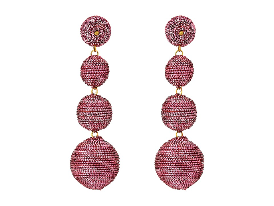 Kenneth Jay Lane 3 Metallic Pink Thread Small To Large Wr...