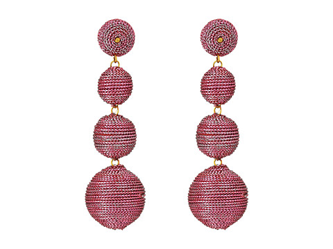 Kenneth Jay Lane 3 Metallic Pink Thread Small To Large Wrapped Ball Post Earrings w/ Dome Top - Pink