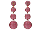 Kenneth Jay Lane 3 Metallic Pink Thread Small To Large Wrapped Ball Post Earrings w/ Dome Top