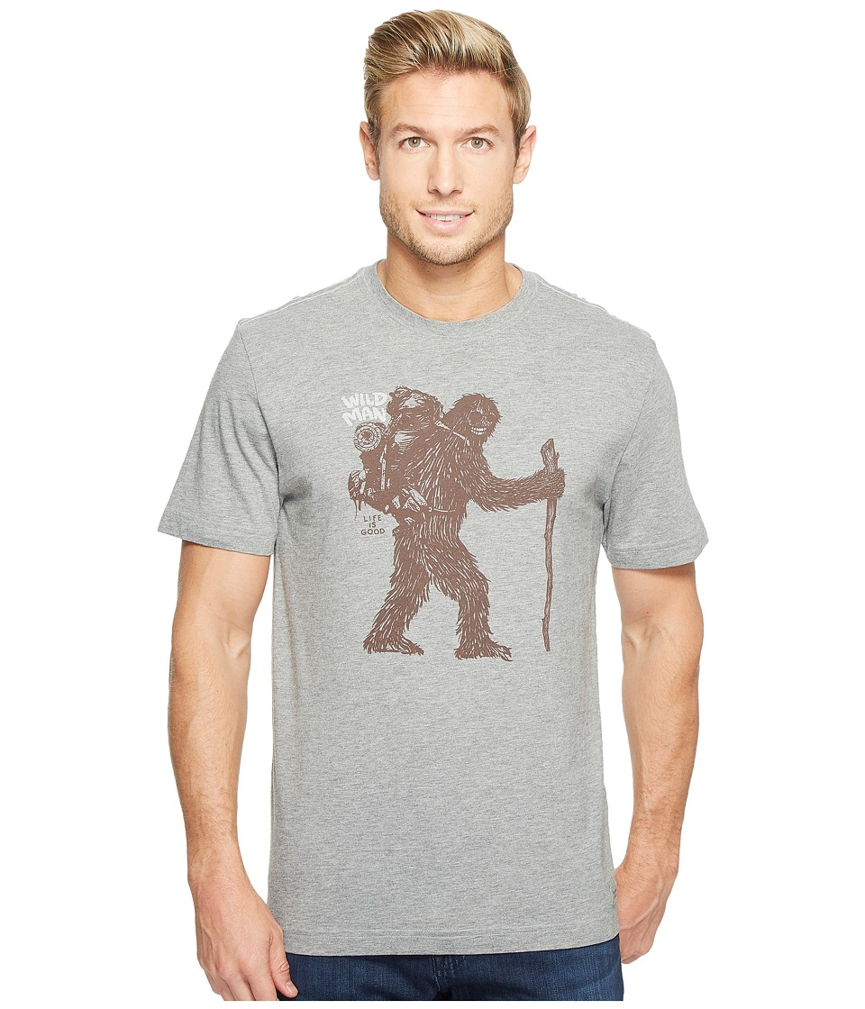 Life is Good Wild Man Bigfoot Crusher Tee (Heather Gray) Men