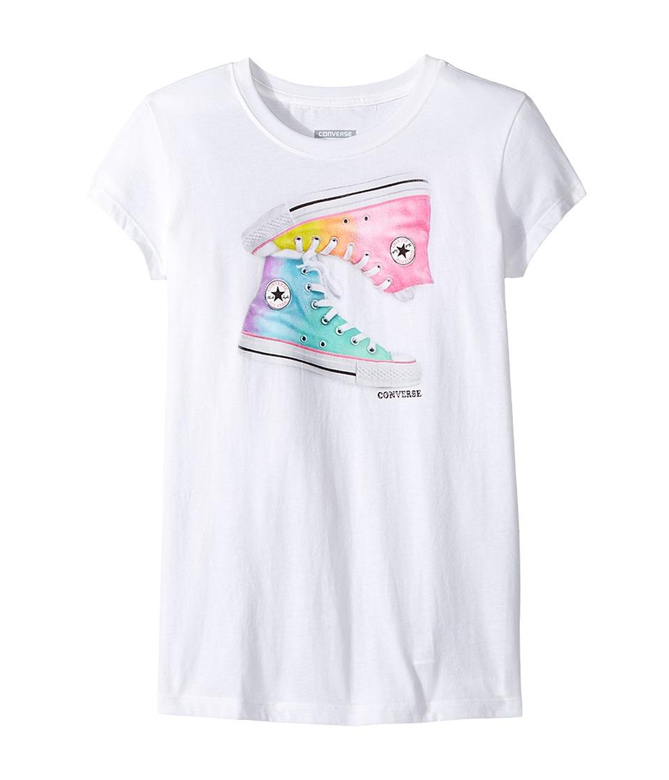 Converse Kids Ombre Chucks Tee (Big Kids) (White) Girl