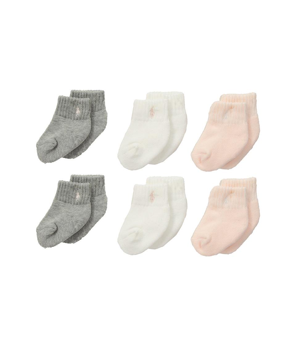 Polo Ralph Lauren - Sport Quarter 6-Pack (Infant) (Sweatshirt Grey Heather) Womens Quarter Length Socks Shoes