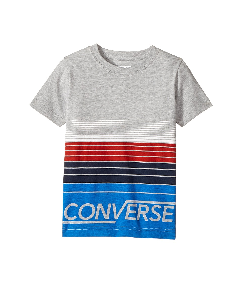 Converse Kids Multi Stripe Tee (Little Kids) (Dark Grey Heather) Boy