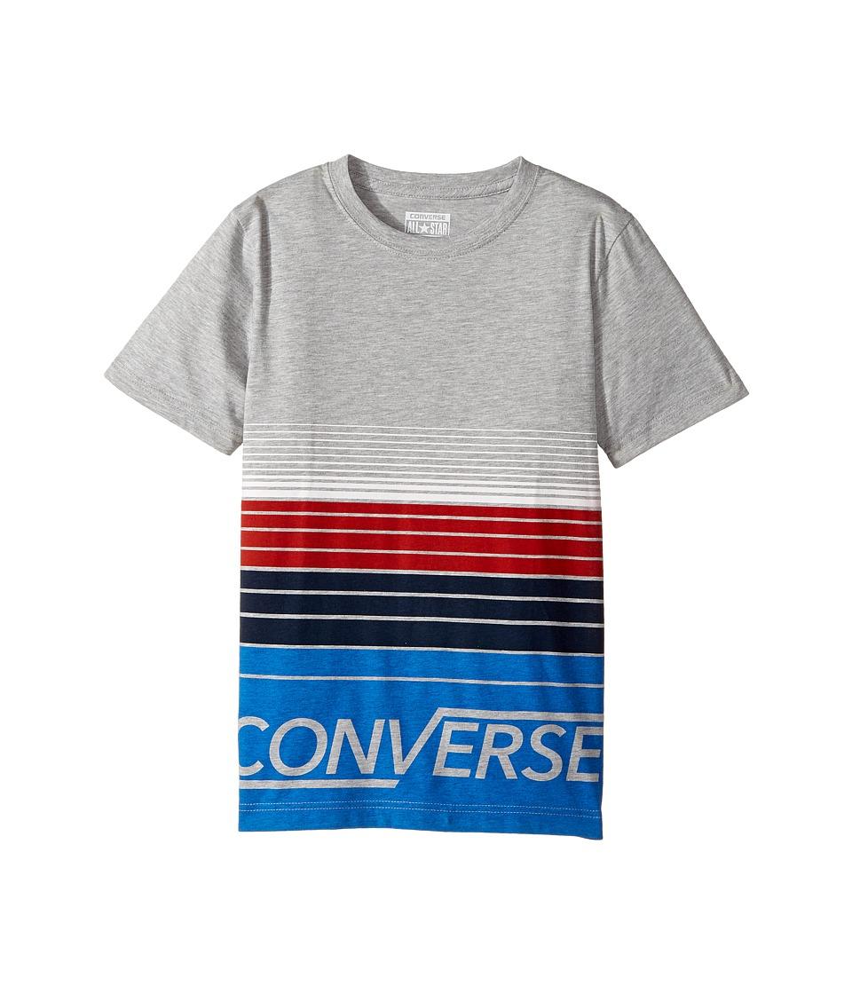 Converse Kids Multi Stripe Tee (Big Kids) (Dark Grey Heather) Boy