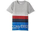 Image of Converse Kids - Multi Stripe Tee (Big Kids) (Dark Grey Heather) Boy's T Shirt