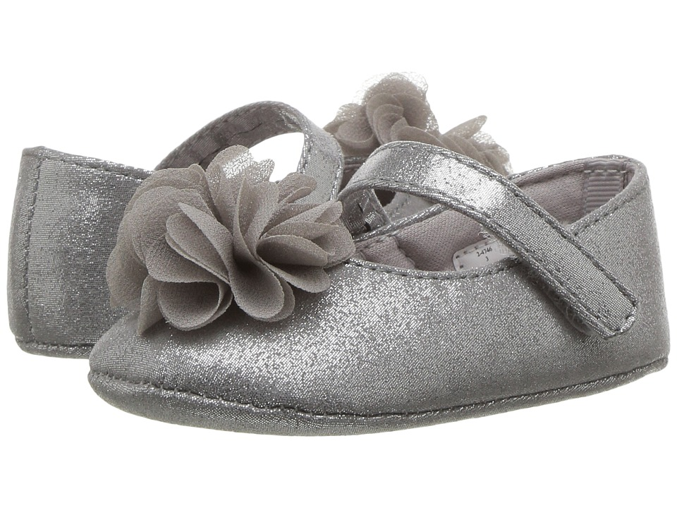 Baby Deer Soft Sole Dress Flat with Flower (Infant) (Silver) Girl's Shoes
