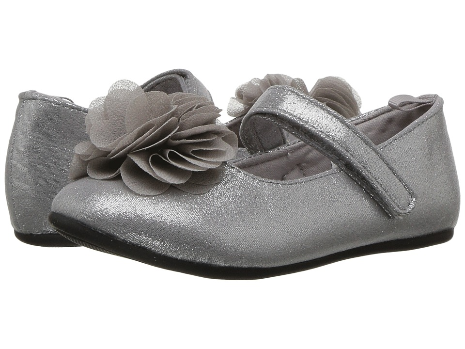 Baby Deer First Steps Dress Flat with Flower (Infant/Toddler) (Silver) Girl's Shoes