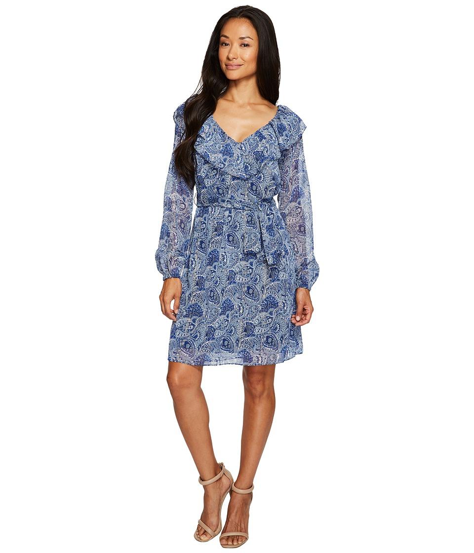 MICHAEL Michael Kors Kinley V-Neck Tie Dress (True Navy) Women