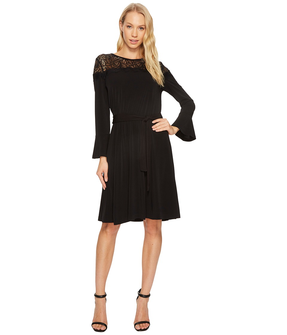 MICHAEL Michael Kors Flounce Sleeve Lace Combo Dress (Black) Women