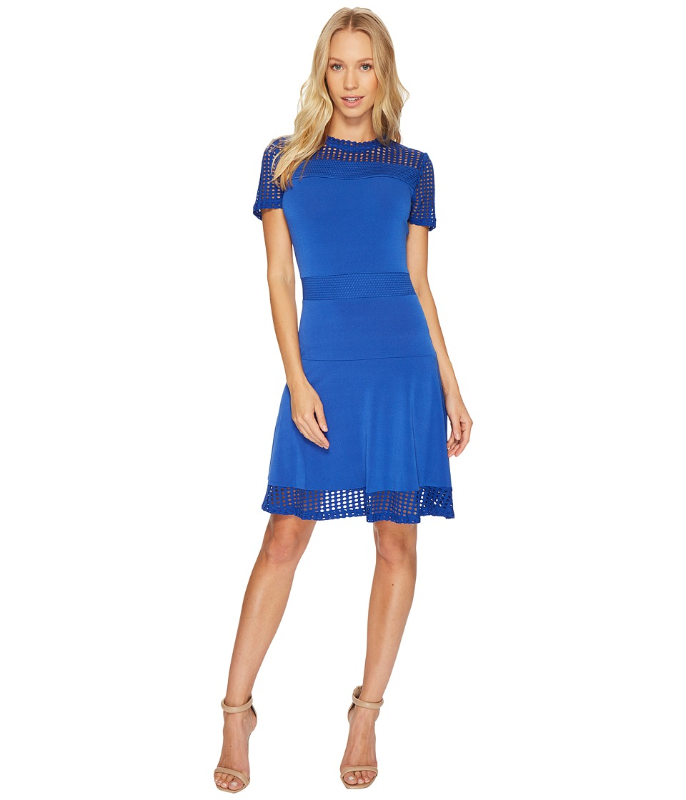 MICHAEL Michael Kors Mesh Combo Dress (Royal) Women