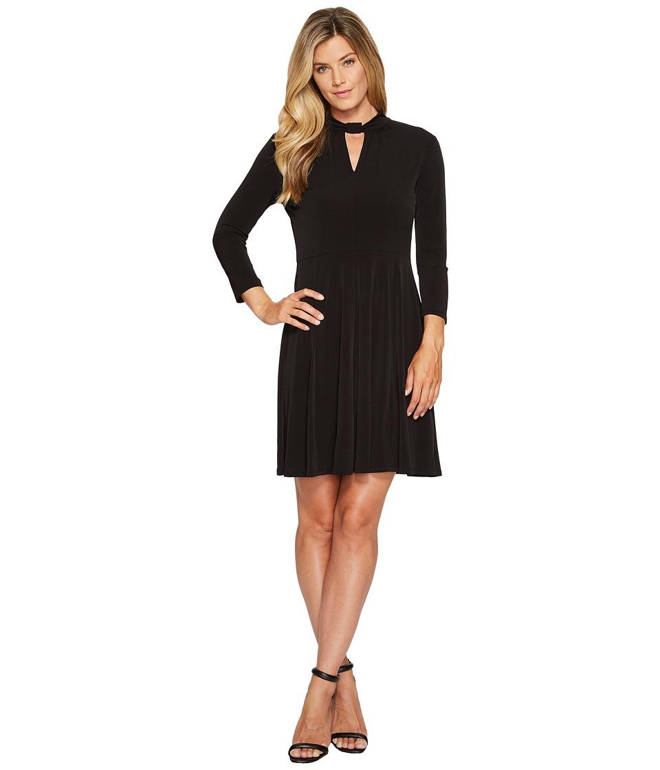 MICHAEL Michael Kors Solid Neck Detail Dress (Black) Women