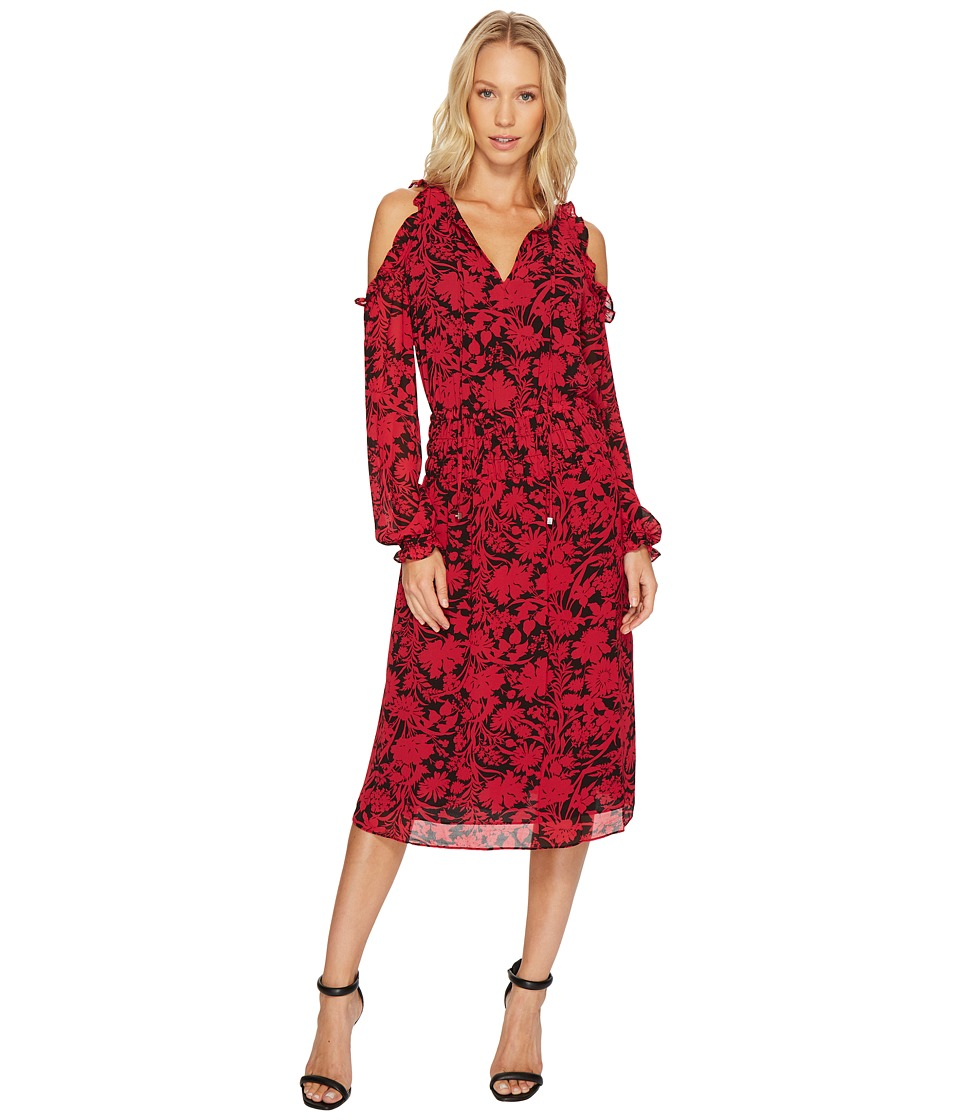 MICHAEL Michael Kors Garden Cold Shoulder Dress (Raspberry) Women
