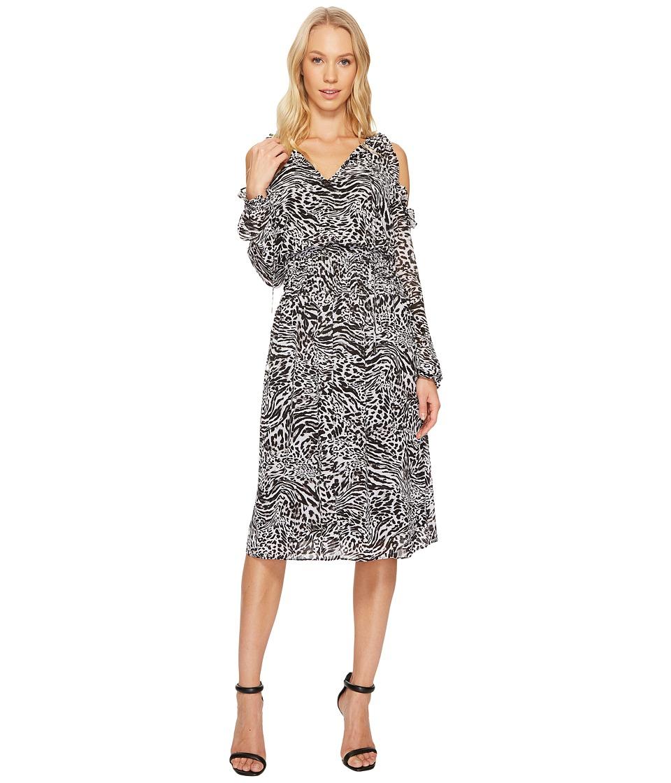 MICHAEL Michael Kors Big Cat Cold Shoulder Dress (Black) Women